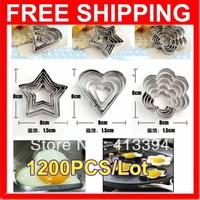 New  1200 PCS/Lot  (1 SET=5 PCS) Kitchen Heart Flower Star Stainless Steel Egg Shaper Pancake Crepe Frying Pan Ring Mold Moulds