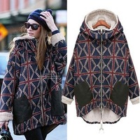 Fashion women's thickening medium-long wadded jacket torx plus velvet pattern with a hood thermal cotton-padded jacket