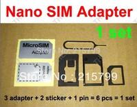 6 in 1 Nano Sim Card Adapter + Eject Pin Key + Adhesive Sticke , Micro Sim Adaptor Noosy for iPhone 5 6 (6000pcs) 1000sets/lot
