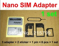 6 in 1 Nano Sim Card Adapter + Eject Pin Key + Adhesive Sticke , Micro Sim Adaptor Noosy for iPhone 5 6 (6000pcs) 1000sets/lot