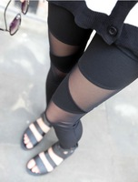 2013 New Fashion Brand New Women Ladies Sexy Cotton Mesh Stretch Render Pants Leggings Color Black HTDDK-061