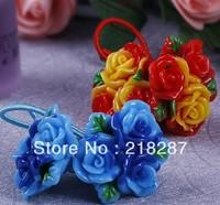 Free Shipping 2013 Wholesale 40pcs/lot Fashion Girls Cute Resin Flower Hair Ropes Kids Elastic Hair Ties Ponytail Holder
