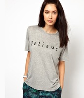 "Free Shipping Fashion Ladies' T-shirt Short Sleeve O-Neck Letter ""Believe"" Print T-Shirt Women  Size: XS S M L XL XXL"