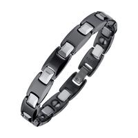 "Black & Silver Tungsten Magnetic Hematite Mens Bracelet L: 8"", W: 10mm Free Shipping TU002B"