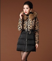 2013 aliexpress sale seqyubed belt Leopard print  fashion khaki &black colors real raccoon fur coat
