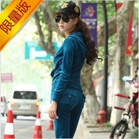 Velvet sports set Women autumn sweatshirt casual set gold velvet sportswear
