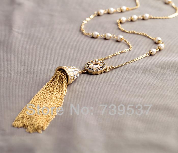 Hot Selling Pure Handmade Polished Gold Tassel Pendant Necklace(China (Mainland))