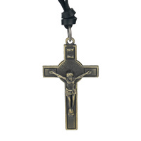 Jesus cross long necklace handmade necklace male apotropaic genuine leather rope