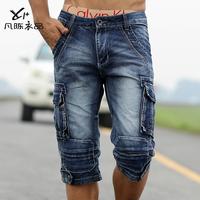 Male denim capris water wash bags shorts casual slim straight capris cotton promotion