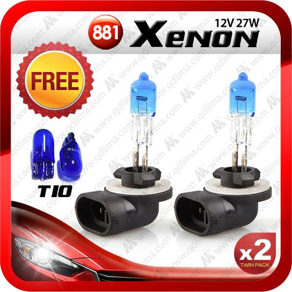 2pcs XENON H27 881 12v 27w HID auto bulb 6000K+2pcs T10 natural blue+Free shipping(China (Mainland))