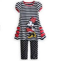 NEW Summer Girl's cartoon Minnie set,stripe  suits,cartoon clothing,5pcs/1lot,free shipping