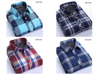 20123 new men sanding plus velvet thick warm plaid long-sleeved shirt Men's shirt business Free shipping