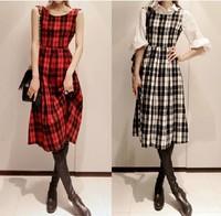 Free Shpping autumn winter new Korean version partysu retro plaid vest Wool Long dress(Red+Black+M/L)131122#38