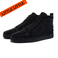 Solid black suede leather spike men shoes, red bottom sneaker with rivets
