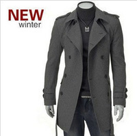 Medium-long woolen men's clothing casual double breasted coat boys overcoat outerwear plus size wool coat