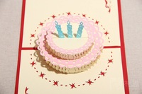 Cheap 50pcs/set   Message Card Handmade papers 3D stereo carved birthday cake greeting cards