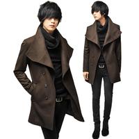Single breasted male wool coat slim  large lapel casual outerwear elegant fashion men coat