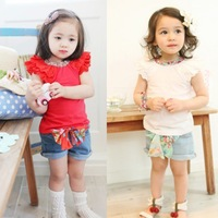 2013 new baby summer cotton tshirts flower tops for small girls pretty clothing tshirt vest 2 colors wholesal 6PCS