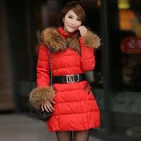 Latest designer women large fur collar down coat lady elegant white duck medium-long down coat warm long style outerwear WC1706