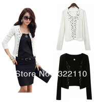 2013 Women Tops OL Suit Tunic Blazer Jacket Shawl Cardigan Coat Rhinestone Rivet Vest Retails S-XXL 5 sizes Drop shipping
