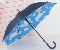 Anti-uv sun protection umbrella solid color blue sky umbrella double layer long-handled umbrella creative