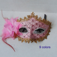 2013 New Beautiful Lady Masquerade Party Masks with Feather Flower 9 Colors Wedding Christmas Gift