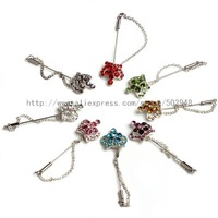 (600pcs mixed /lot)Hijab pins crystal chain scarf pin muslim fixed scarf safety pin