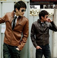 High Quality!New Fashion Men Slim Short Jacket Casual Jacket Collar Men PU Leather Machine Wagon Jacket  Man's  leather coats