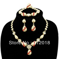Wedding Jewellery, Buy 2 get 1 free,  Womens Red Jewelry, Gold Plated Jewelry Sets Free Shipping