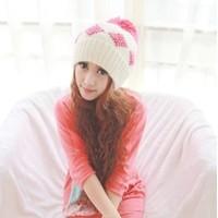Sugar 006 winter ear square grid pattern knitted wool ball hat warm hat