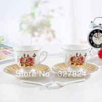 New arrival jingdezhen ceramic coffee cup and saucer set bone china lovers coffee cup Golden Rose Ceramic coffee set 6pcs