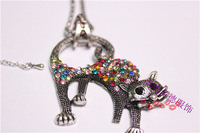 Cat Pendant Necklace Chain Classic Trendy Alloy With Rhindstone