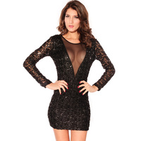 2013 sexy fashion deep V-neck paillette one-piece dress evening dress short dress black wool knitted V-neck 2614