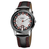 EYKI  Men's Quartz Waterproof Sports Wristwatches White mix Red Leather Band Free shipping