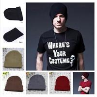 New 2013 Men Women Unisex Solid Color Winter Hats Crochet  Beanie Hat Skull Cap Ski Knit Warm Outdoor Casual Hat Free Shipping