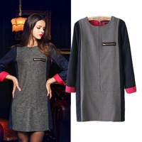 Fashion women's dress summer cotton round neck long sleeve dress for women brand dress