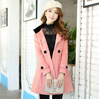 2012 winter new arrival women's fashion british style with a hood slim woolen cloth material outerwear double breasted plus size