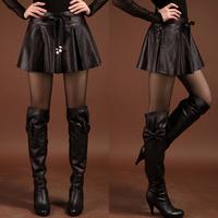 New arrival 2013 women's slim hip culottes sheepskin pleated skirt pants half-length genuine leather skirt