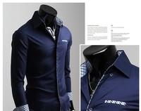 big sale! 2013 Mens Slim fit Unique neckline stylish Dress long Sleeve Shirts Mens dress shirts