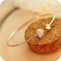 B81 heart bracelet crystal love opening gold plated bracelet crystal bracelets & bangles free shipping