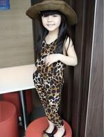 5pcs/lot Girls leopard print jumpsuits Childrens Summer overalls free shipping