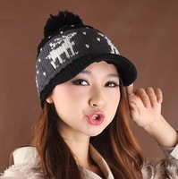 Winter hat new arrival knitted hat millinery reincurs knitted baseball cap hat the trend