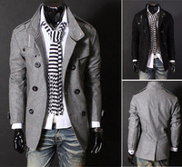 Men's Slim Casual Double Breasted Pea Trench Stylish Woolen Coat Outerwear MZ