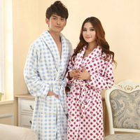 Women's FL thickening fleece sleepwear bathrobes men's coral fleece robe lovers