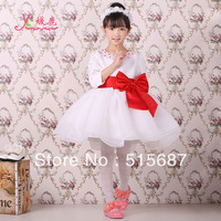 Free shipping !2013 autumn and winter long-sleeve Red Big Bow girl princess dress girl wedding costume dress flower girl dress
