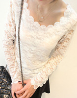 Autumn and winter women basic lace shirt slim 2013 scalloped big o-neck long-sleeve top