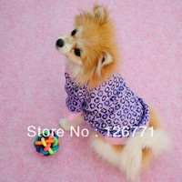 Free Shipping! Small Pet Dog Autumn Spring Clothes Fashion Pattern Warm Coats Jacket  Purple Color XS S M L  OrangeColor