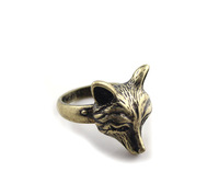 free shipping 6pcs/lot fashion jewelry accessories vintage metal animal fox head rings for women 17mm 18mm