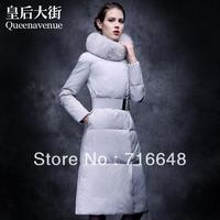 Free shipping winter fur fox fur slim down coat female ultra long