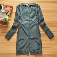 Free Shipping Wind collarless o-neck solid color long-sleeve loose A - shaped type trench outerwear medium-long autumn